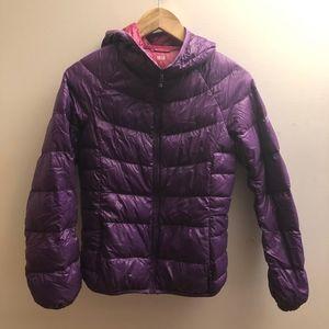 Uniqlo down puffer jacket, hoodie, XS, purple
